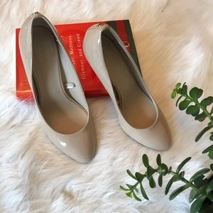 Express Patent Leather Nude Heels Round Toe